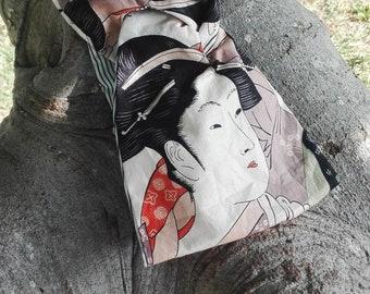 GEISHA headband turban, japanese fabric headband, double sided cotton headband, kimono girls