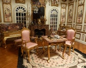 Chess table and 2 chairs, miniature Epoque Louis XV style - scale 1 12 furniture of Decoration doll 39 s House in French