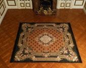 Carpet quot Aubusson quot vintage style Orange Miniature Louis XV - 1 12 scale - accessory for French Dollhouse Decoration