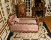 Miniature wooden bed in 18th century style - Scale 1 12 - Furniture deooration for French Doll 39 s House