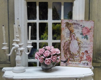 """Plate Decorative Miniature in scale 1: 12 """"Shabby Chic"""" Style - decorative accessory for doll's House."""
