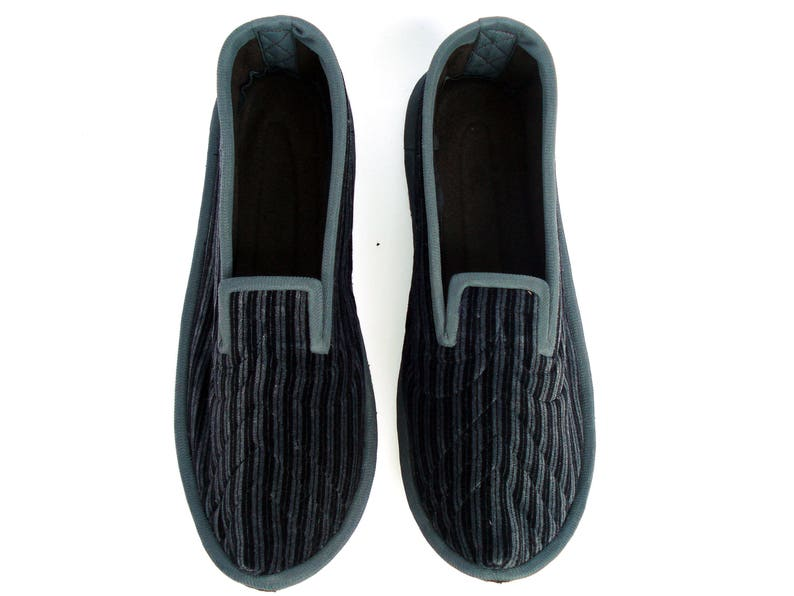9b24f21074a84 Elegant Velvet House Slippers Men, Classic Wool Slippers Men, Comfy Home  Shoes, Warm House Slippers for Him, Gray Wool Shoes, Men Shoes 8,5