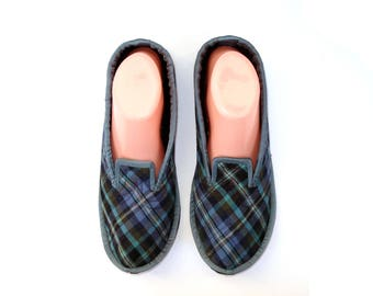 Blue House Slippers for Women, Ladies Slippers, Indoor Shoes, Wool House Slippers, Guest Slippers, Adult Slippers, Christmas Gift, Gift idea