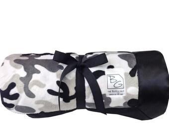 Gray Camo Deluxe Minky Blanket