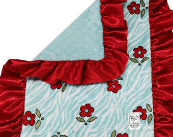 Red Floral Security Blanket Red Aqua