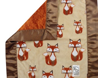 Foxes Security Blanket Gold Brown Rust