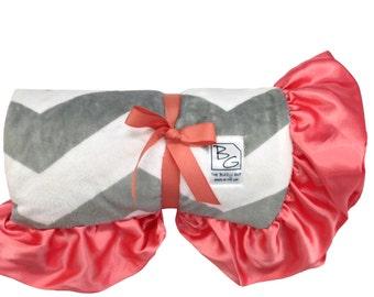 Stroller Blanket Gray Chevron