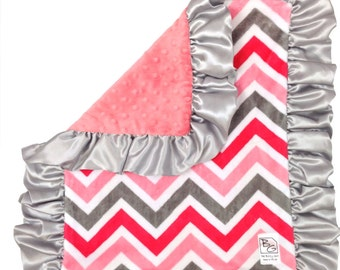 Coral Chevron Security Blanket Coral Gray Silver