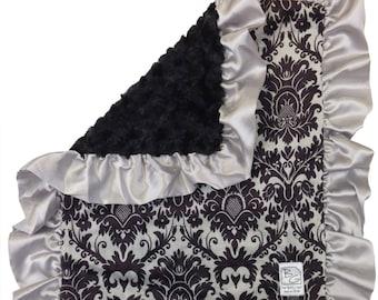 Black Damask Deluxe Minky Blanket