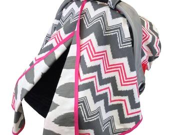Ikat Chevron Car Seat Tent Hot Pink Gray