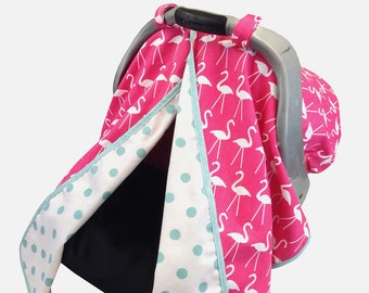 Hot Pink Flamingo Car Seat Tent - Car Seat Canopy