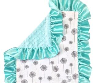 Mint Dandelion Deluxe Minky Blanket