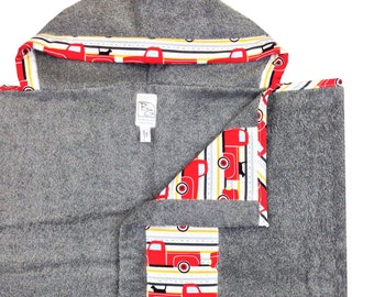 Best Friend's Ride Hooded Towel Red Gray Black