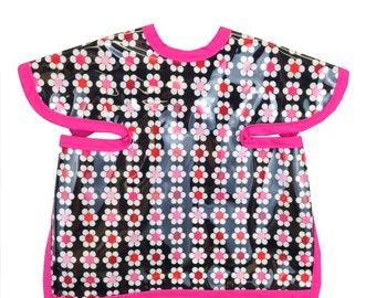 Hot Pink Daisy Apron Bib