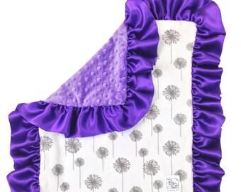 Purple Dandelion Deluxe Minky Blanket