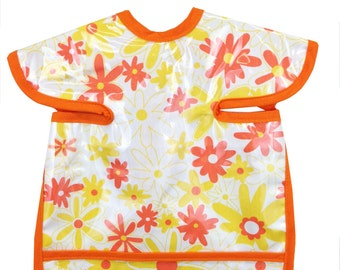 Retro Daisy Orange Apron Bib