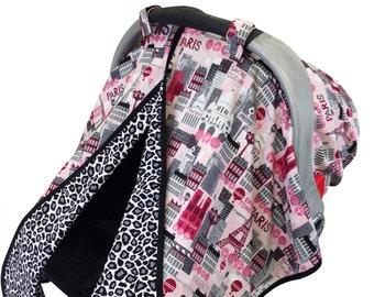 Hot Pink Paris Car Seat Tent Hot Pink Black Gray Cheetah