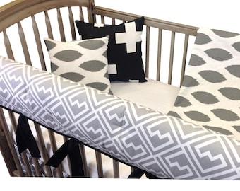 Ikats Crib Bedding with Rail Guards- 4 Piece set- Gray Black