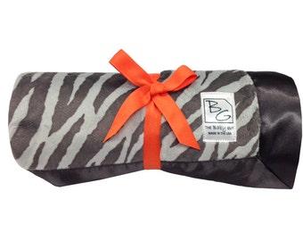 Gray Zebra Deluxe Minky Blanket