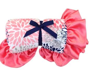 Coral Blooms Deluxe Minky Blanket