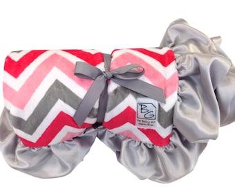Coral/Gray Chevron Deluxe Minky Blanket