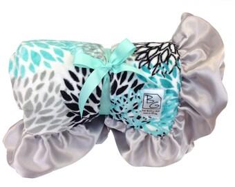 Aqua Blooms Deluxe Minky Blanket