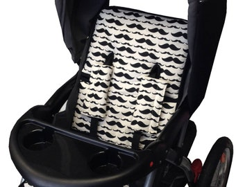 Mustache Stroller Liner - Reversible Stroller Pad