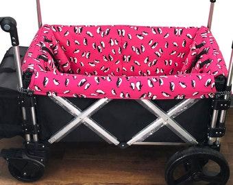 Hot Pink Penguins Stroller Wagon Liner For Keenz