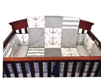Gray Anchor Crib Set with Bumpers -4 Piece Set- Gray Navy