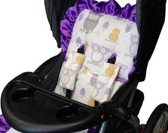Hooty Lavender Stroller Liner - Reversible Stroller Pad