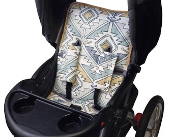 Aztec Blue Stroller Liner-Reversible to Gray Minky