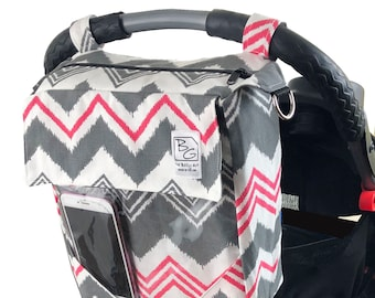 Hot Pink/Gray Chevron 3 Hour Diaper Bag