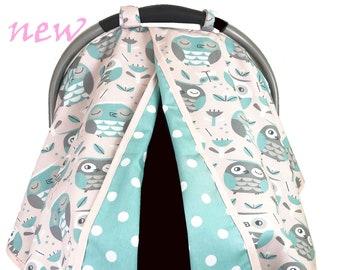 Pretty Owls Car Seat Tent -  Car Seat Canopy