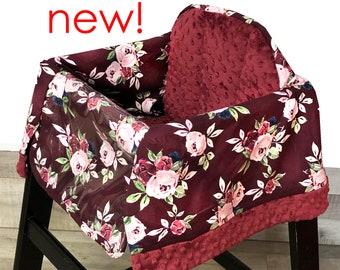Burgundy Rose High Chair Cover