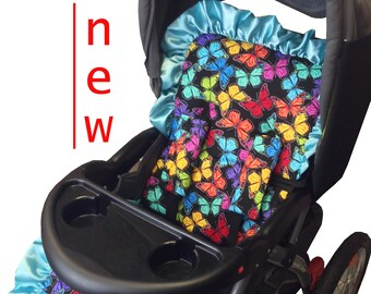 Butterflies Stroller Liner-Reversible to Black Minky
