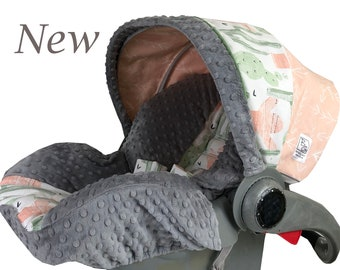 Cactus Sunset Infant Car Seat Cover Coral Green