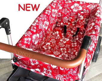 Red Tropical Stroller Wagon Liner For Keenz
