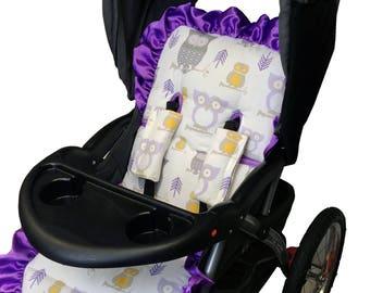 Hooty Lavender Stroller Liner-Reverses to Lavender Minky