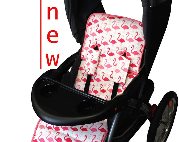 Featured listing image: Flamingo Fun Stroller Liner-Reversible to Aqua Minky