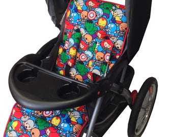 Baby Avengers Stroller Liner-Reversible to Bright Blue Minky