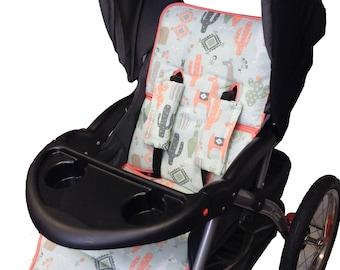 Boho Llama Stroller Liner-Reverses to Olive Minky