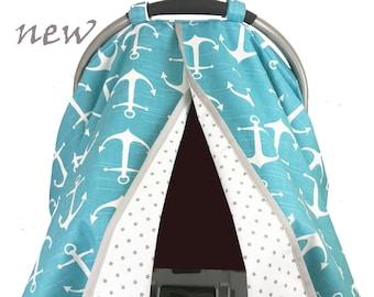 Aqua Anchors Car Seat Tent -  Car Seat Canopy