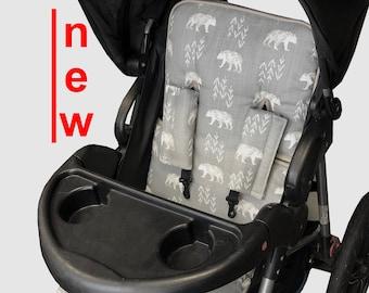 Woodland Bear Stroller Liner - Reversible Stroller Pad