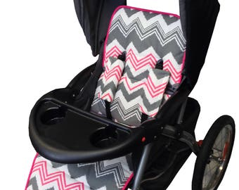 Hot Pink/Gray Chevron Stroller Liner-Reversible to Gray Minky