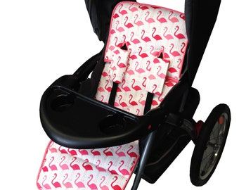 Flamingo Fun Stroller Liner-Reversible to Aqua Minky