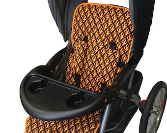 Flames Stroller Liner-Reversible to Black Minky