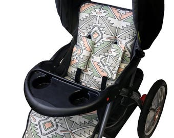 Aztec Coral Stroller Liner-Reversible to Gray Minky
