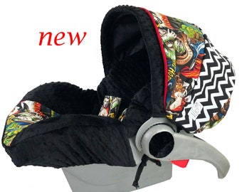 Classic Monsters Black Infant Car Seat Cover