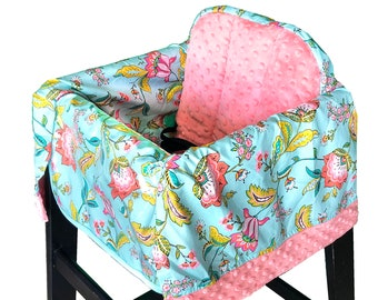 Jacobean Aqua High Chair Cover