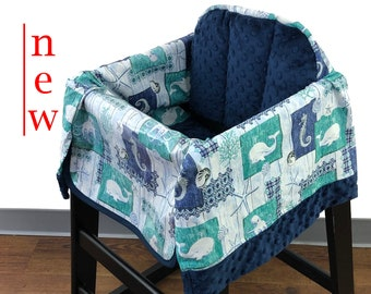 Sea Life Navy High Chair Cover
